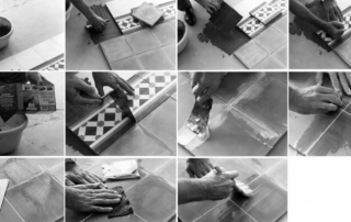laying and treatment cement tiles