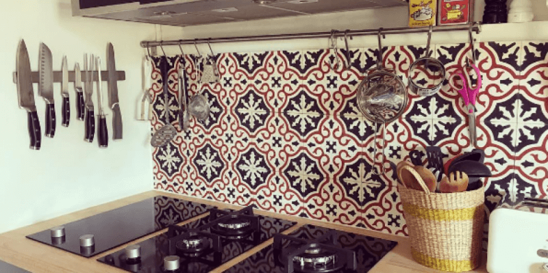 trendy kitchen with cement tiles