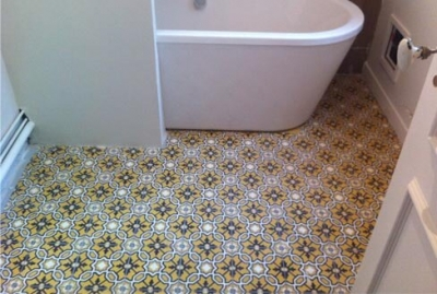 Bathroom in colored cement tiles