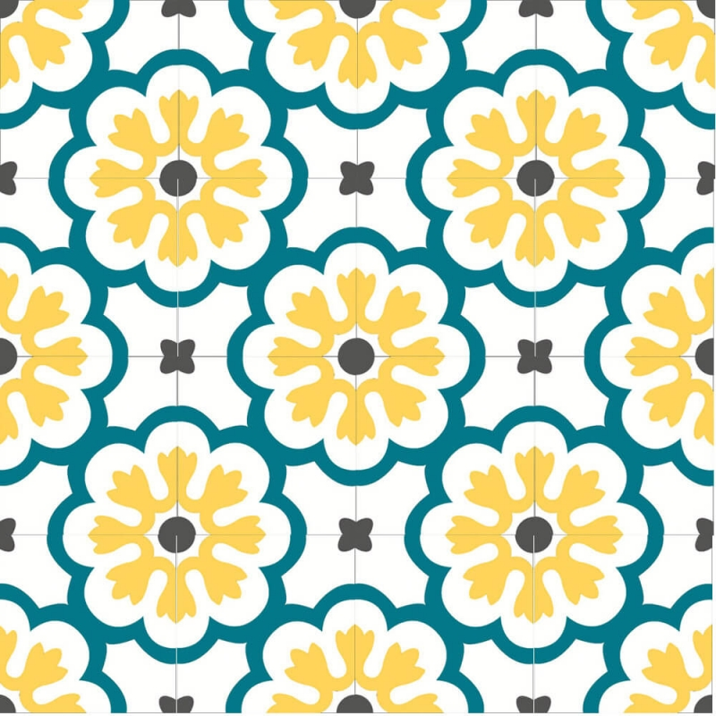 floral blue and yellow cement tiles by cement tiles co uk