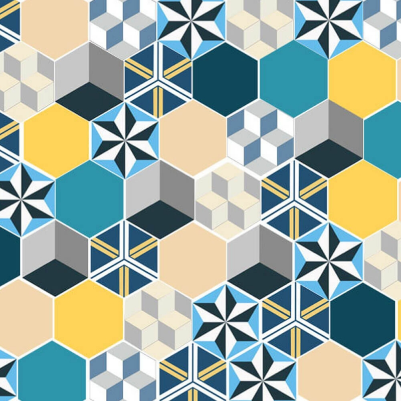 patchwork in cement tiles