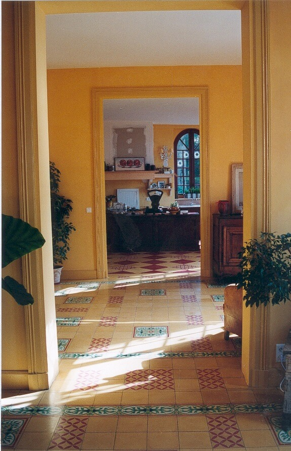 classic kitchen in cement tiles