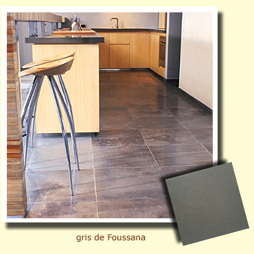 grey stone on kitchen floor