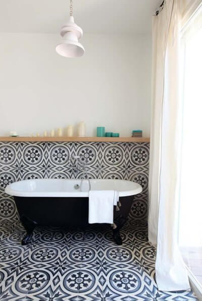 bathroom in blue cement tiles