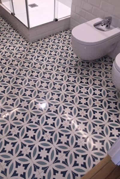 bathroom floor in cement tiles