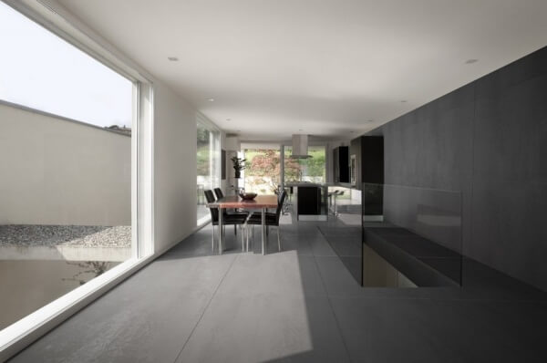 Black tiles in a kitchen