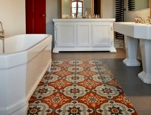 Cement tiles in a bathroom