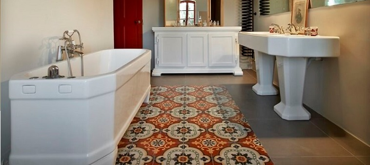red cement tiles in a bathroom floor