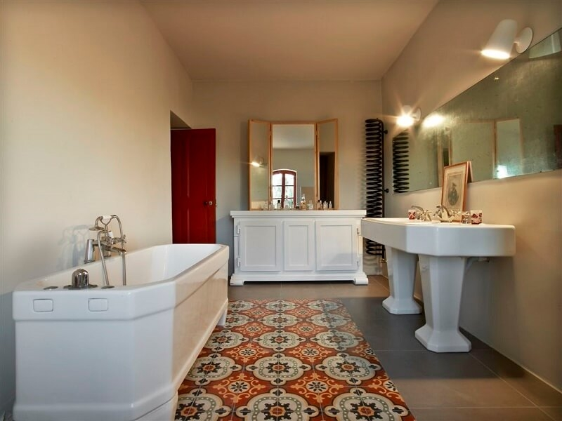 cement tiles in a big bathroom