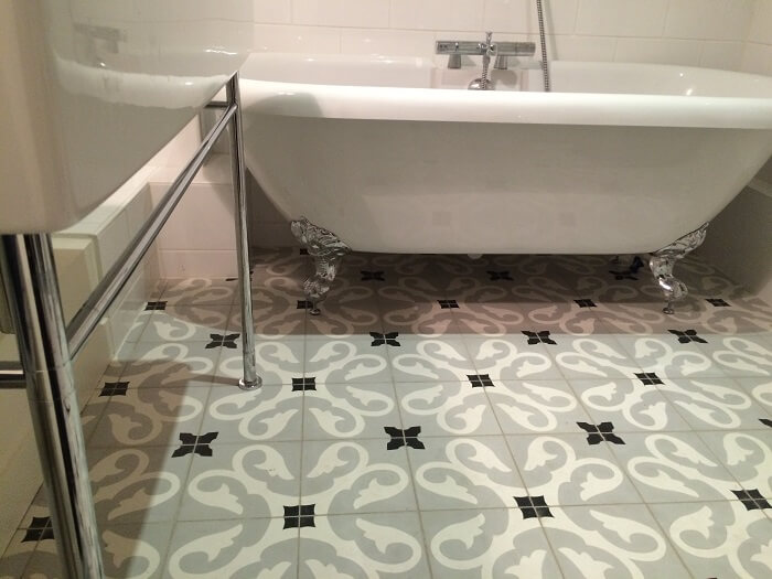 cement tiles in a classic bathroom