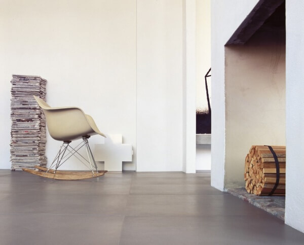 Concrete effect tiles in a hall