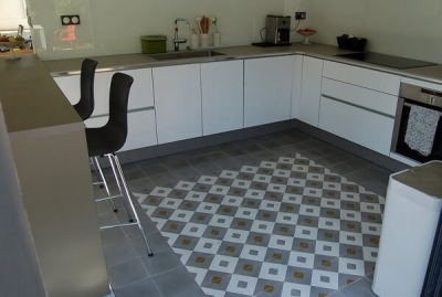 kitchen floor with cement tiles