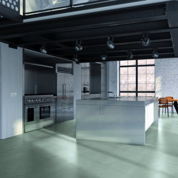 Kitchen with concrete effect tiles