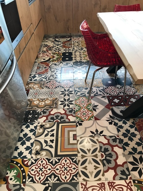 cement tiles patchwork in a kitchen