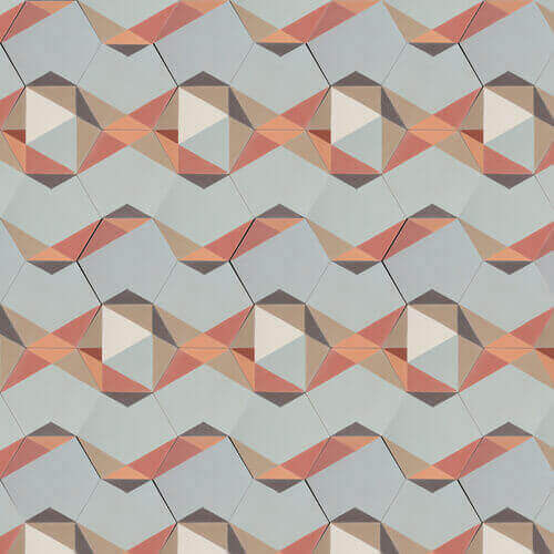 patchwork with hexagon cement tiles