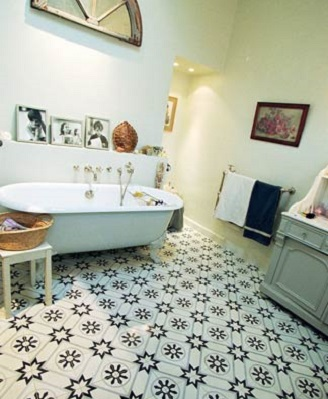cement tiles in a bathroom in london