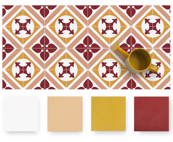 art deco style red cement tiles