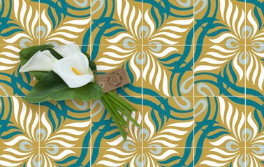 floral and modern cement tiles color blue and mustard