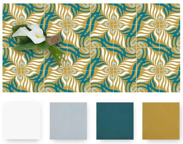 jungle blue and mustard cement tiles