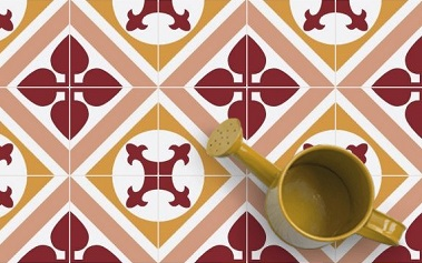 moderne red and orange cement tiles for kitchen and bathroom floor