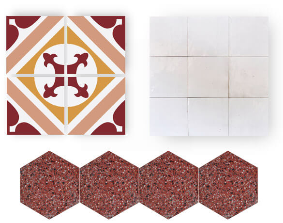 red and modern terrazzo and cement tiles