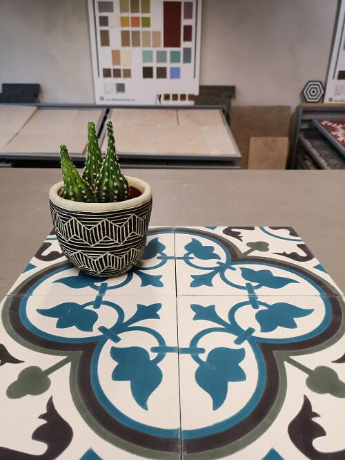 flower blue and green cement tiles
