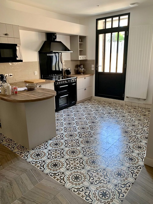 industrial kitchen cement tiles