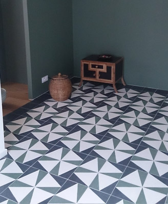 Geometric cement tiles green for living room and kitchen in Liverpool England, Contemporary stil cement tiles for kitchen in Bristol England, Cimenterie de la Tour