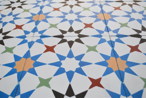 Star cement tiles colored for kitchen in Liverpool England, Cimenterie de la Tour