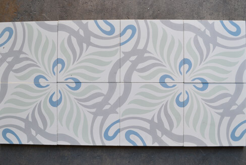 Jungle cement tiles pastel color in Coventry, Cimenterie de la Tour