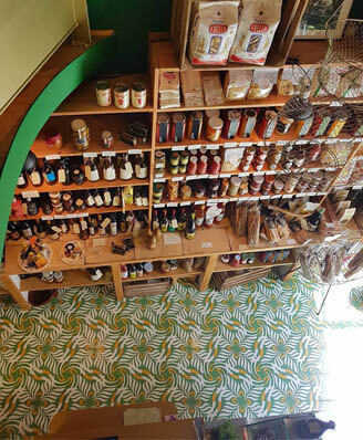 Shop in green floral cement tiles in Newcastle by Cimenterie de la Tour