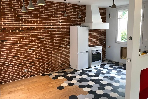 Modern hexagon in cement tiles in a kitchen in Liverpool by Cimenterie de la Tour