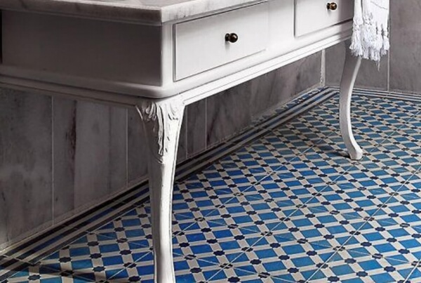 blue cement tiles in a hall