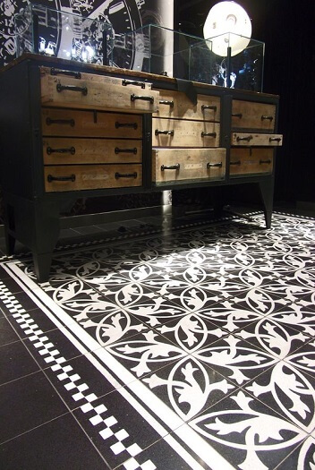 cement tiles in a sitting room