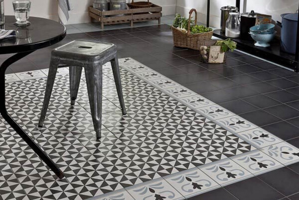 dining room in cement tiles