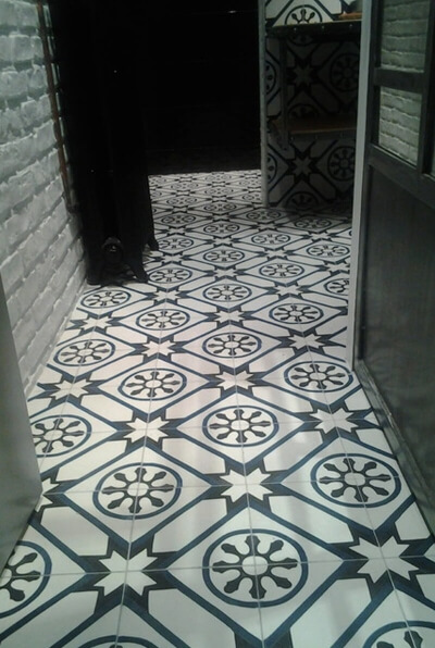 hall in cement tiles