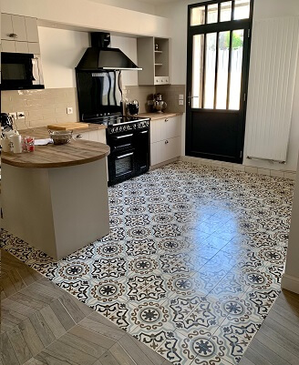 Cement tiles lay on a kitchen floor in Oxford