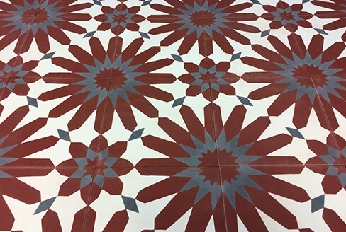 cement tile floral red Bordeaux
