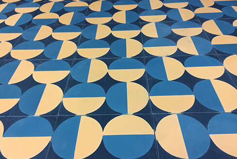 cement tile geometric blue and yellow Lyon