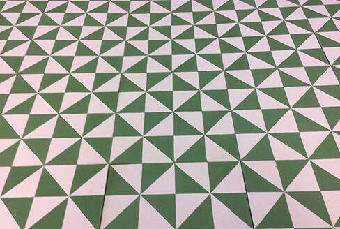 cement tile modern green and white