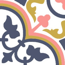 floral and dynamic pink and blue cement tiles