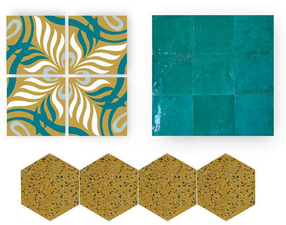 blue and yellow cement tiles, zellige and granito