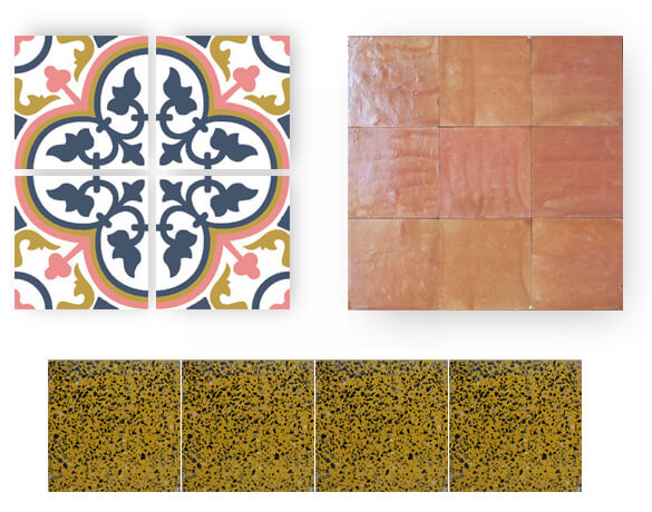 pink and blue cement tiles and yellow granito
